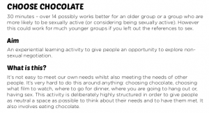 Choose chocolate consent activity